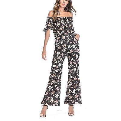 YUTONG Women's Casual Short Sleeve Off Shoulder Floral Print Wide Leg Pants Pocket Jumpsuit (XX-Large, Black): Clothing