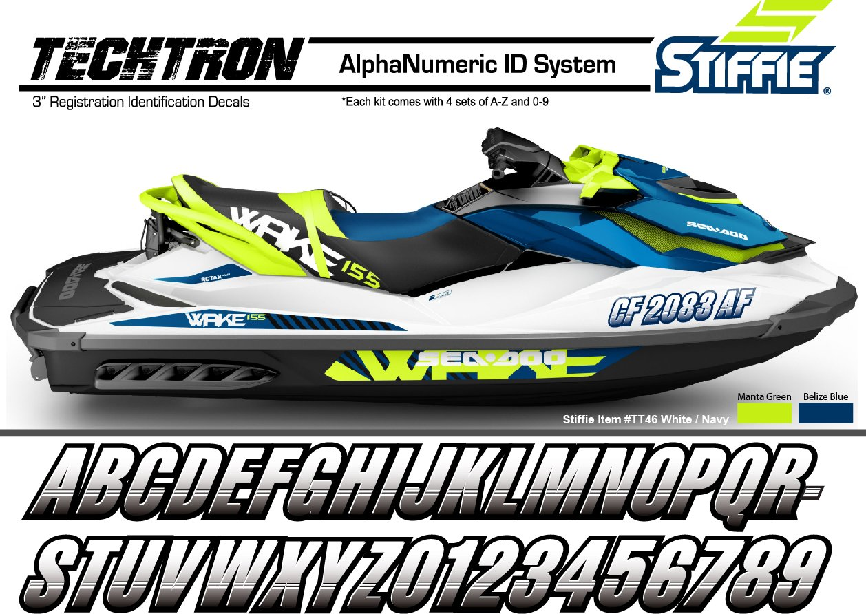 STIFFIE Techtron Black/Electric Green 3'' Alpha-Numeric Registration Identification Numbers Stickers Decals for Boats & Personal Watercraft
