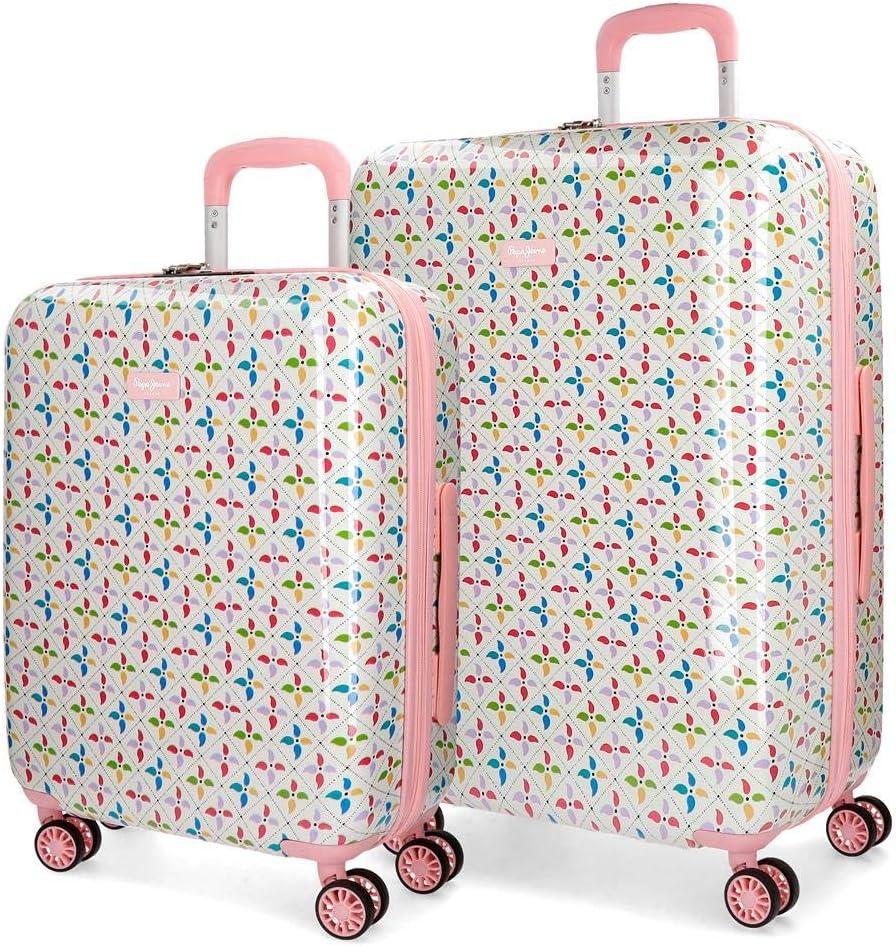 Pepe Jeans Tina Juego de maletas Multicolor 55/70 cms Rígida ABS Cierre TSA 120L 4 Ruedas Dobles Equipaje de Mano