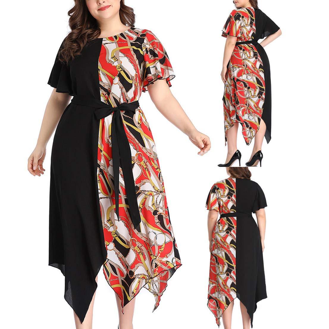 Short Bell Sleeve Print V Neck Women's Maxi Dress Party Dress Irregular Hem Patchwork Dress Purple by Jianekolaa_Dress (Image #5)
