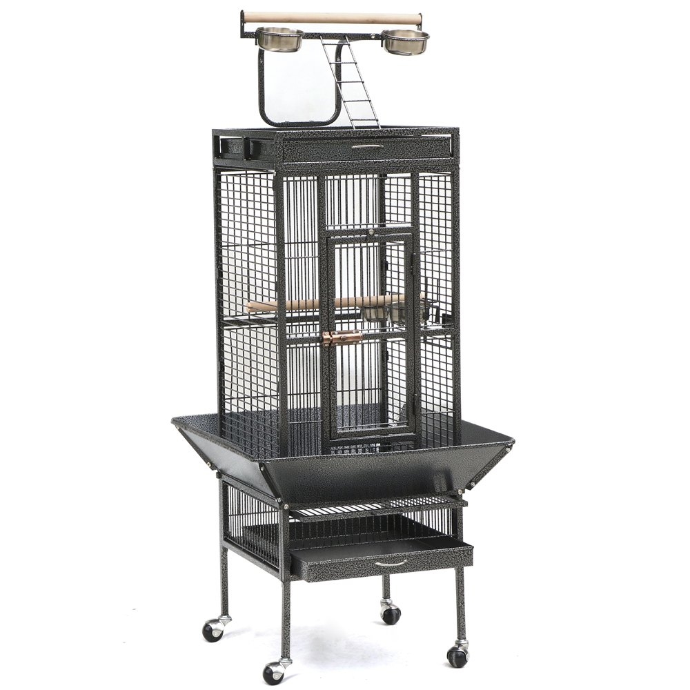 Topeakmart 61'' Bird Cage Iron Pet Products Cockatoo Flight Cage (Black)