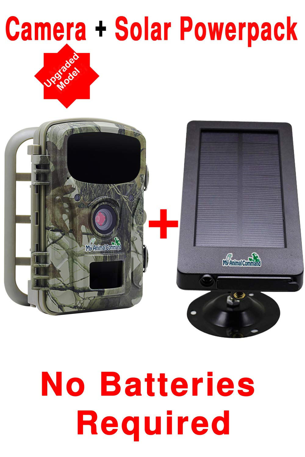 MyCommand Solar Trail Camera 16MP Animal Game Time Lapse Cam with Night Vision Motion Activated, IP66 Waterproof 1080p Spy Outdoor Deer Wildlife Hunting. 16MP Camera and Solar Power Pack Bundle