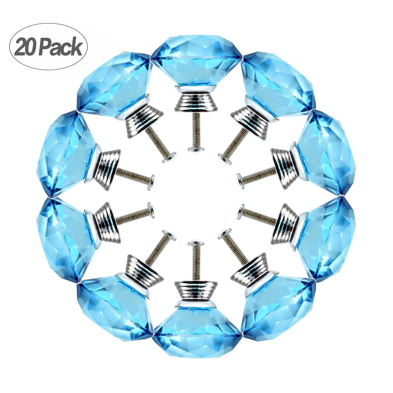 40 mm引き出しノブプルハンドル、gazeto 20ピースダイヤモンド形状クリスタルガラスキャビネットノブプルハンドル食器棚、引き出し、キャビネット、胸、Bin、、ドレッサー用(ブルー) B072VRW1K1