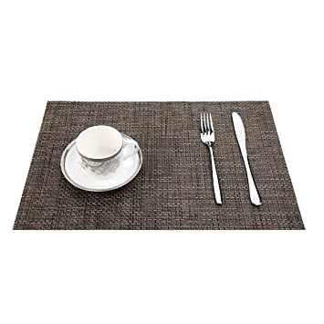 Homcomoda Placemats Washable PVC Dining Table Mats Heat Resistant Sustainable Woven Vinyl Place Mats for Kitchen Table Set of 6 Grey