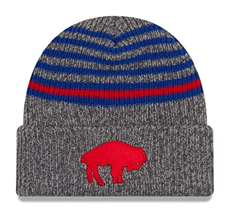 Amazon.com   New Era Buffalo Bills Stripe Strong Cuffed Knit Hat Cap ... b0e1bd1afa3