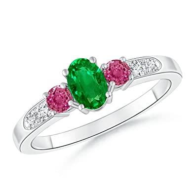 Angara Round Emerald Three Stone Ring with Pink Sapphire Accents in Platinum QNlN6zK