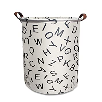 Waterproof of Coating Canvas Fabric Kids Storage Bins for Baby Toys Kid Toys Baby Clothing Gray Arrow Books Mintlyfe 17.7 Large Size Laundry Hamper Storage Basket with Handles
