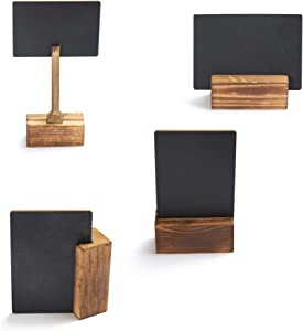 Mini Chalkboard Signs with Magnetic Stand - 4 Pack - Writable with Normal & Liquid Chalk - 4x2.8 Inch - Small Tabletop Chalkboard Sign for Weddings, Events, Birthday Parties