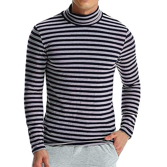 BaZhaHei-Blusa de hombre, Camiseta de Manga Larga con Cuello Alto de Rayas y