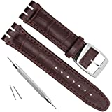 Alligator Grain Cow Leather Stainless Steel Buckle Watch Band Strap for Swatch