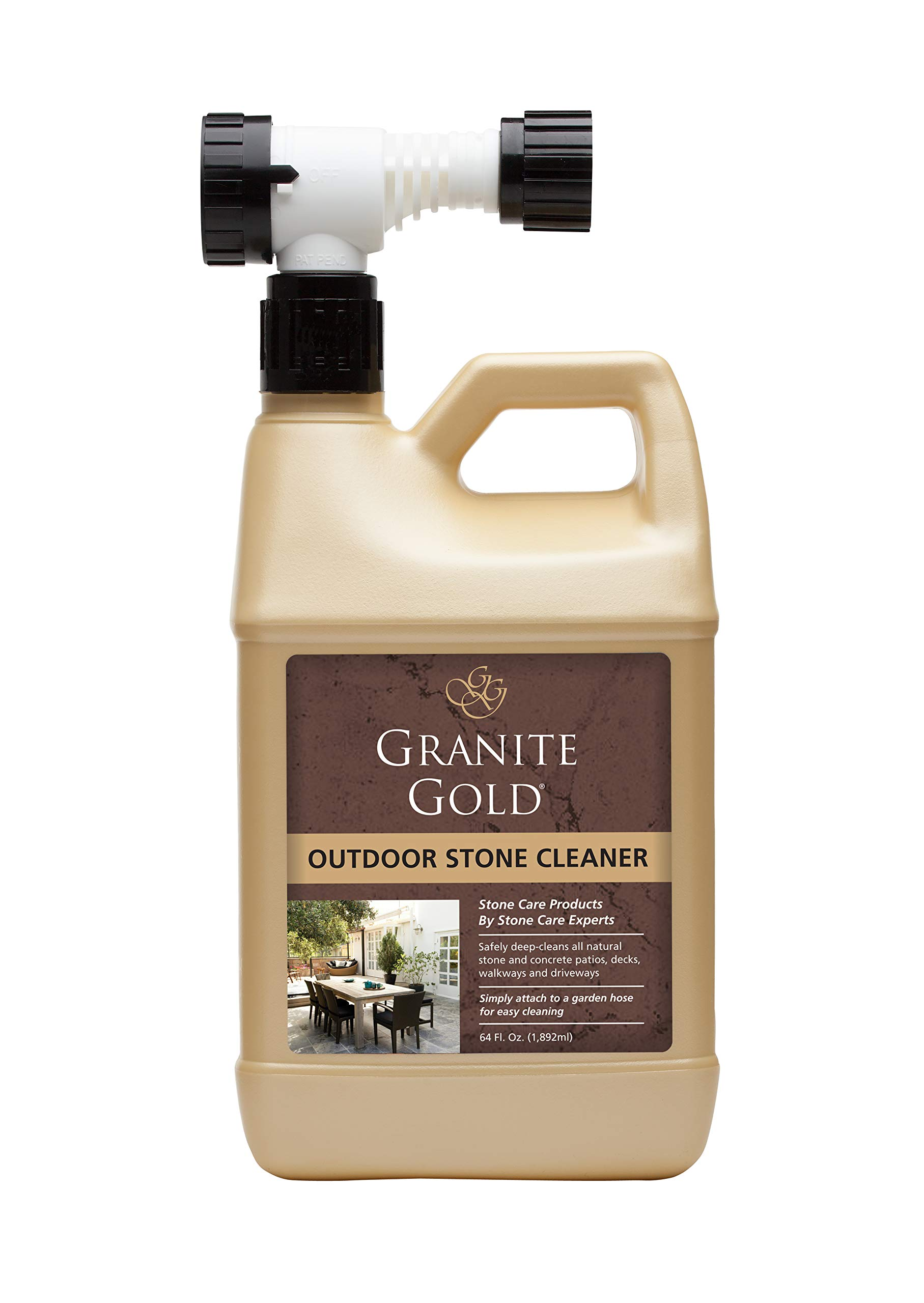 Granite Gold Outdoor Stone Cleaner - Deep Cleans Stone And Concrete Patios, Decks, Driveways - 64 Ounces by Granite Gold