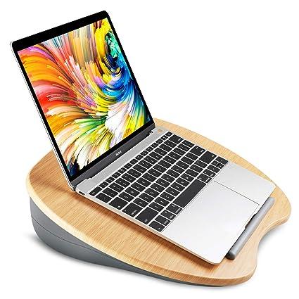 HUANUO Soporte para Laptop con Cojín en Cama y Sofá, Estante de Libros/Almohada/Mesa de Rodilla con Orificio de Cable y Tira Antideslizante, Apto a ...