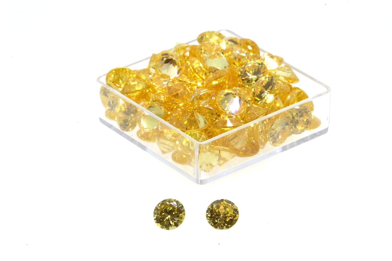 Birth Stone Jewels 5mm Yellow Sapphire Round Brilliant Cut Cubic Zirconia Gem Stones Pack Of 2 5mmRYCZ