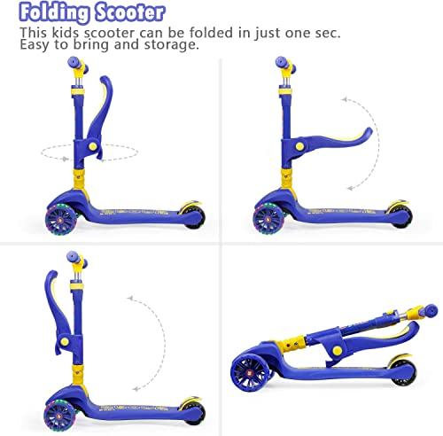 YHR Toddler Scooter for Kids with Seat Folding and Removable – 3 Wheel Kids Scooter with led Flashing Wheel Adjustable Height Kick Scooter for Kids Ages 2-6