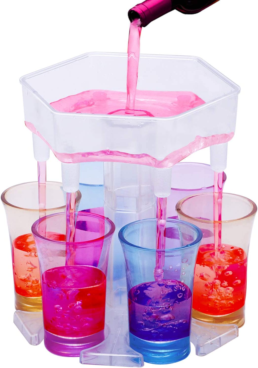 Generic 6 Shot Glass Dispenser and Holder, Bar Shot Dispenser, Carrier Caddy Liquor Dispenser,Cocktail Dispenser Great Party Gift, Get Party Started Faster, Glasses and Silicone Plug Included -Clear