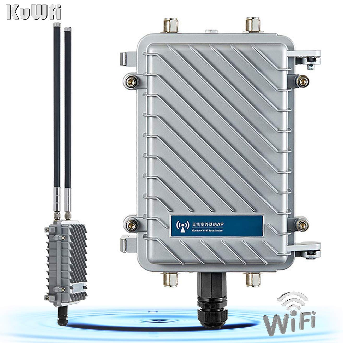 KuWFi High Performance 300Mpbs 2.4G Outdoor CPE/AP Waterproof Outdoor Base Station Access Point with 18dBi Panel Antenna Support Wireless AP/Gateway/WiFi Repeater/Bridge/WISP by KuWFi