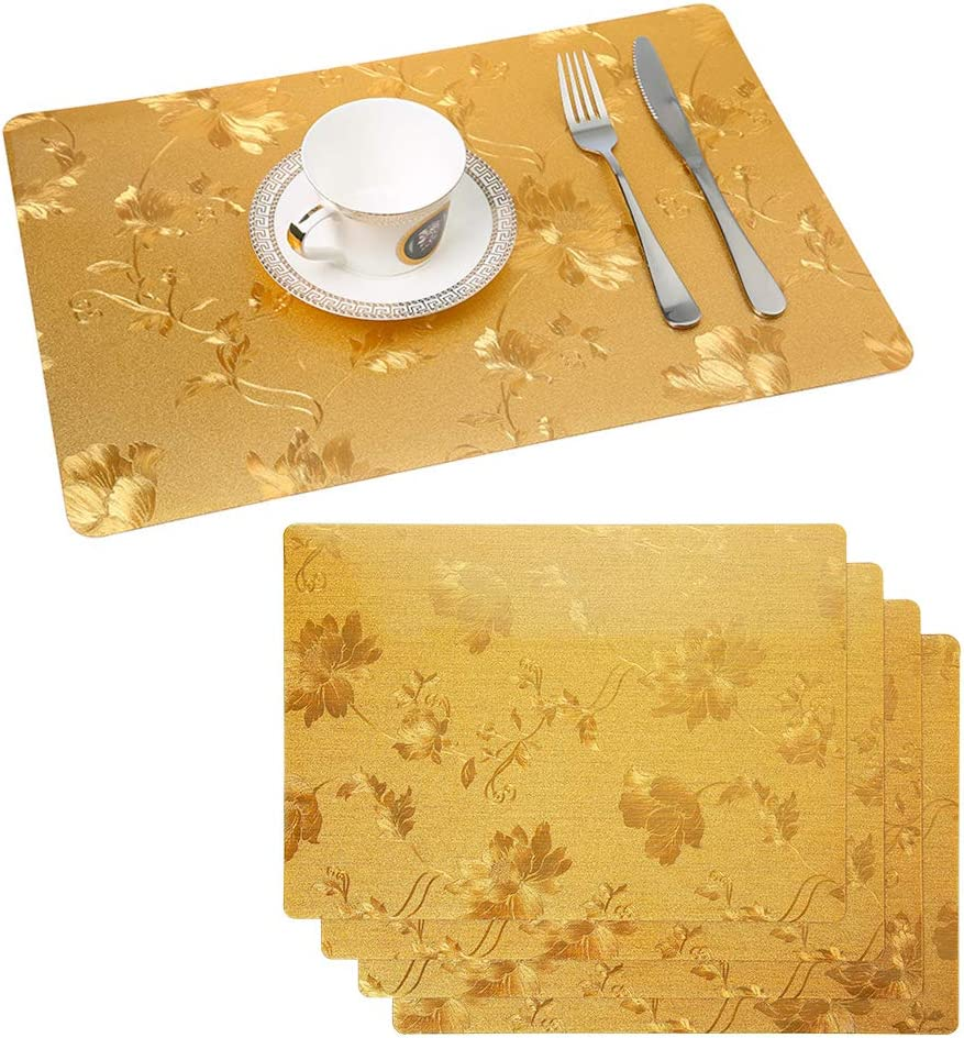 ZOORE PVC Abgrifffeste Hitzebest/ändig Platzdeckchen Brown Einfach 6er Set Platzsets Abwaschbar 30x45cm Rutschfest Tischsets und Untersetzer f/ür k/üche Speisetisch -