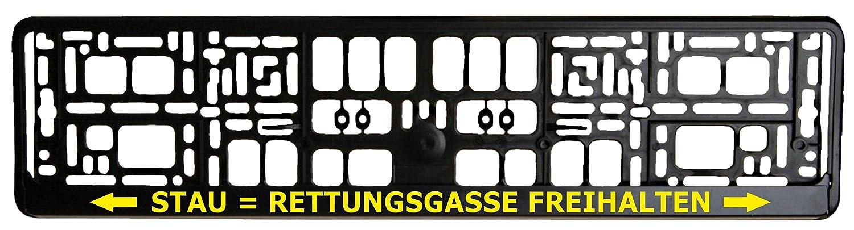 Schwarzer Kennzeichenhalter - Rettungsgasse Freihalten - Aufdruck in Gelb - Kennzeichenverstä rker - Kennzeichenträ ger - Kennzeichen - Halter Gradert-Elektronik