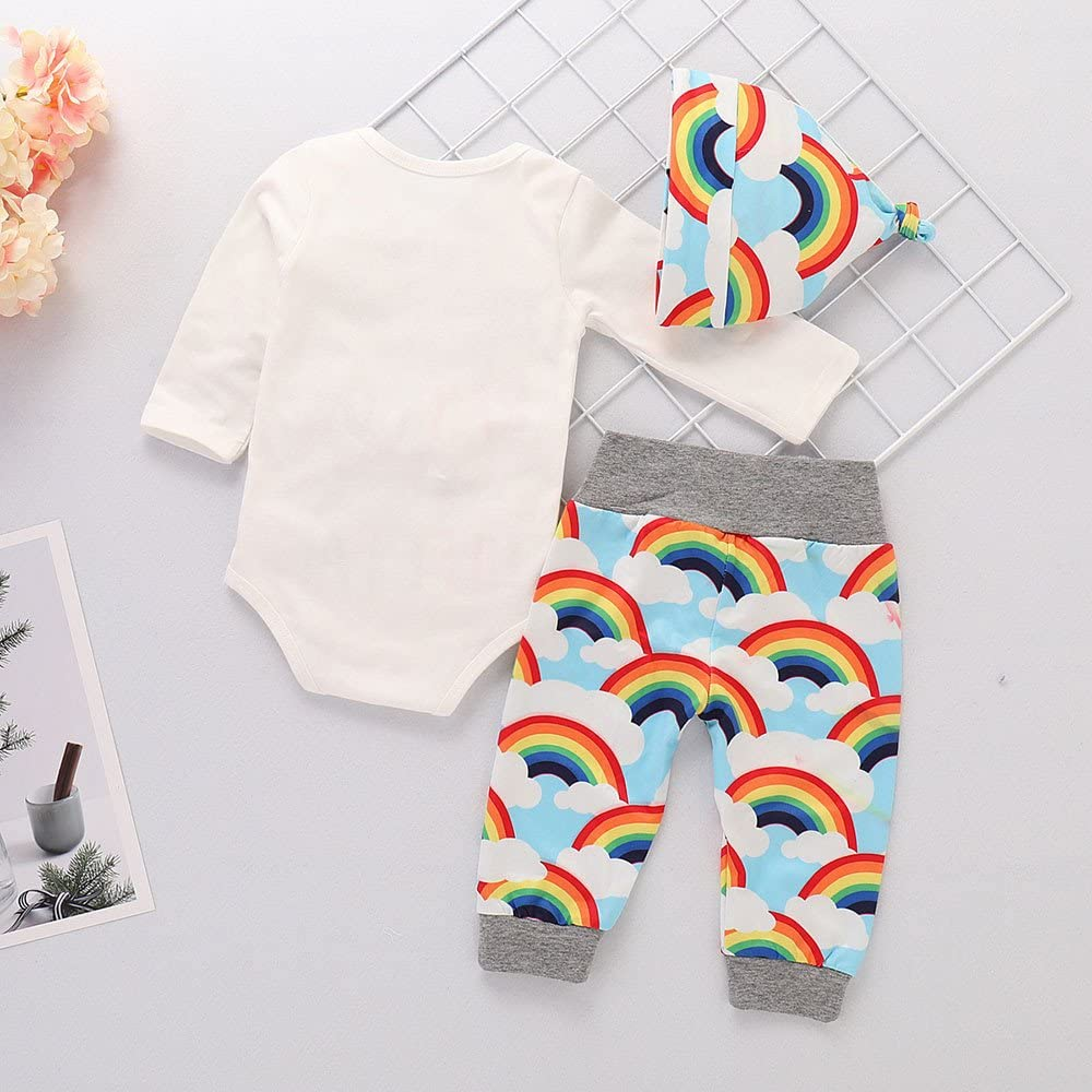 Winter Kid Outfits,Fineser Lovely Infant Baby Girls Boys Letter Print Romper Jumpsuit+Rainbow Pants+Hat Outfits 3 Sets