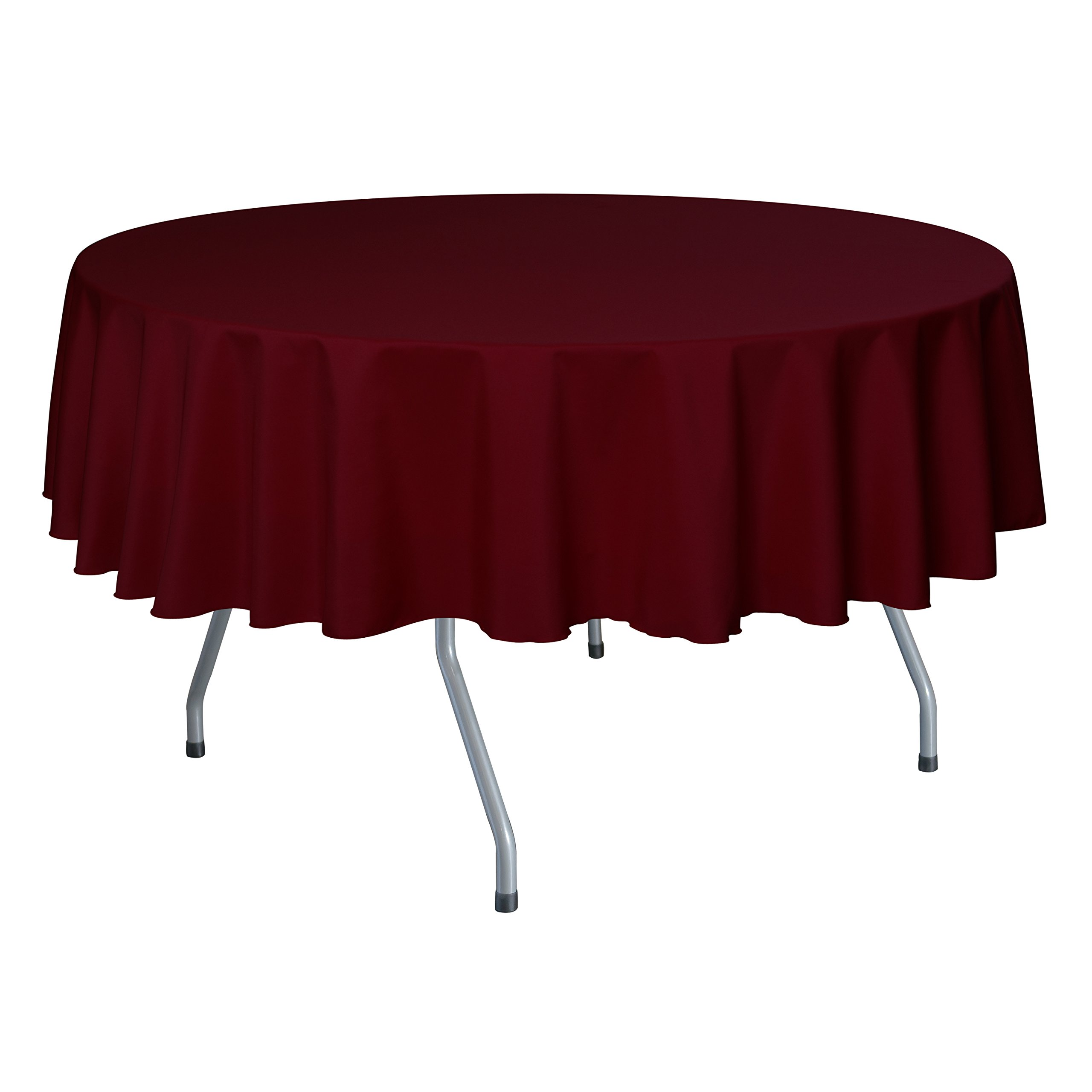 Ultimate Textile (10 Pack) 70-Inch Round Polyester Linen Tablecloth - for Wedding, Restaurant or Banquet use, Cherry Red