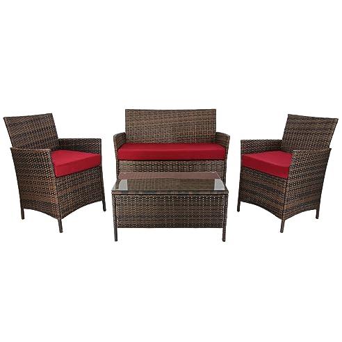 Amazon.de: 7-teilige Rattan Sitzgruppe Lounge KUBA Lounge Set Poly ...