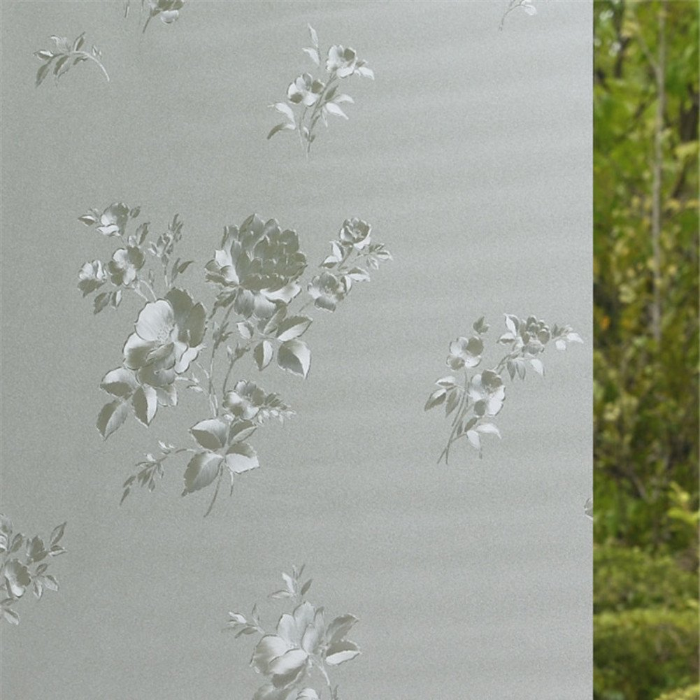 YQ WHJB 3d Frosted privacy window film,No glue Static decorative films,Glass Sun protection Anti-uv Sliding door Reusable Window decal Sticker-A 45x100cm(18x39inch)