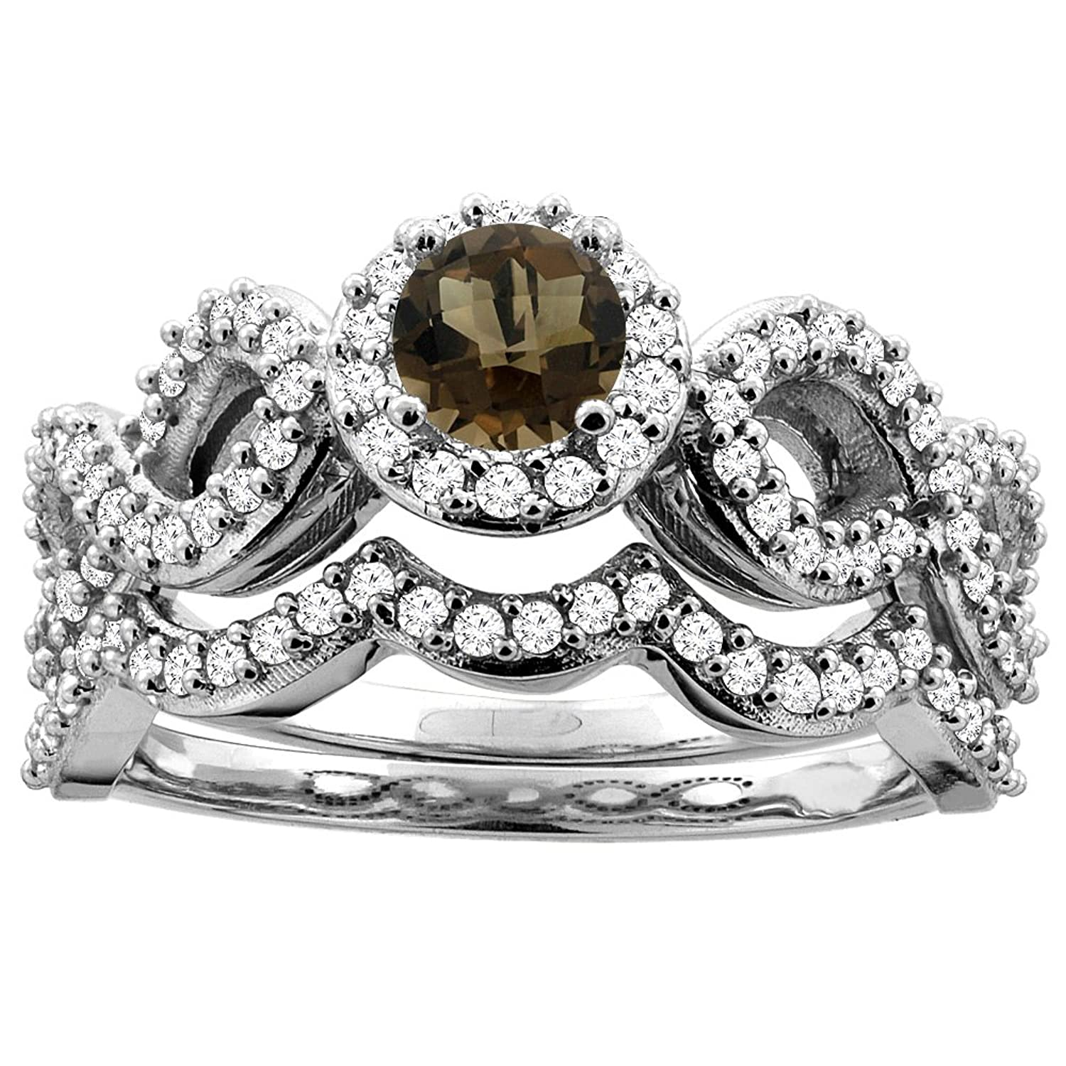 14K White Gold Natural Smoky Topaz Engagement Halo Ring Round 5mm Diamond 2-piece Accents, sizes 5 – 10