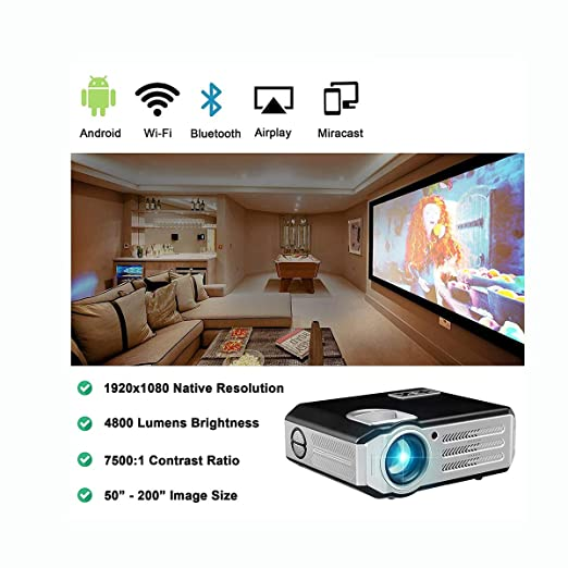Ai LIFE Proyector Nativo 1080p Proyector Wi-Fi Full HD ...