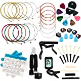 LOMEVE Guitar Accessories Kit Include Acoustic Guitar Strings, Tuner, Capo, 3-in-1 Restring Tool, Picks, Pick Holder, Bridge
