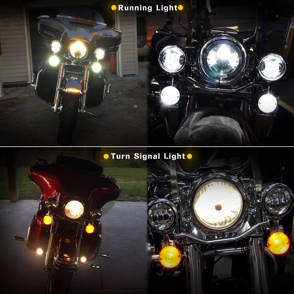 NTHREEAUTO 3 1//4 LED Lights Flat Style Turn Signal Front 1157 Pannel Compatible with Harley
