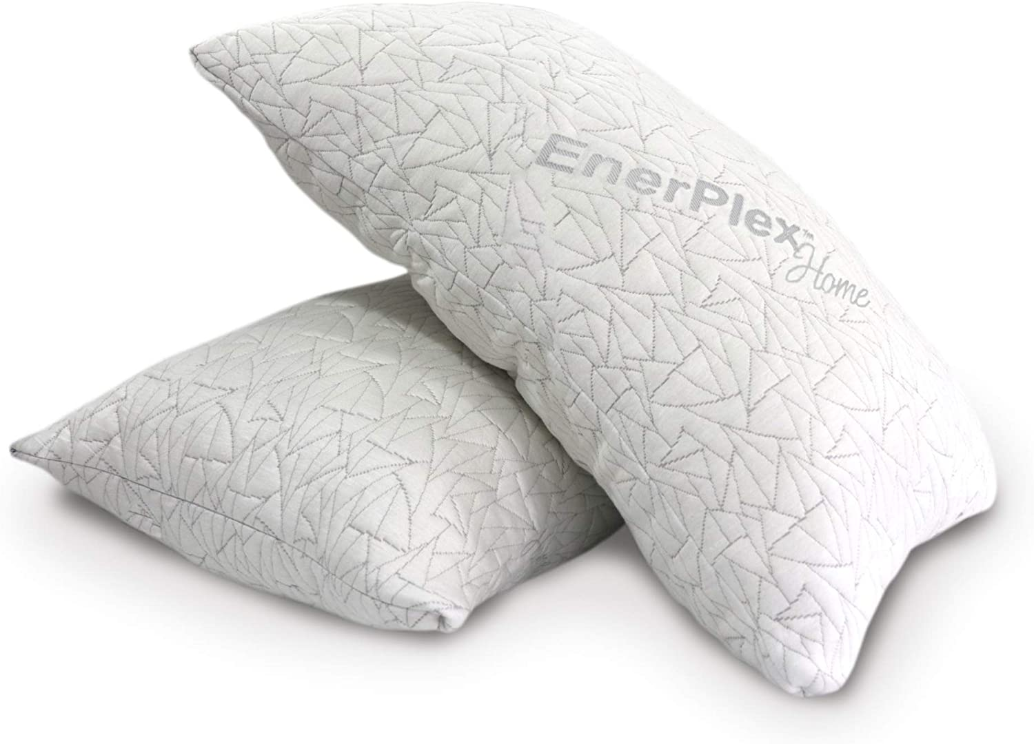 EnerPlex Upgraded Pillow, Adjustable Shredded Memory Foam Pillow, Luxury Pillow - High End Quality, Machine Washable, Removable Bamboo Cover, Queen Size (2 Pack)