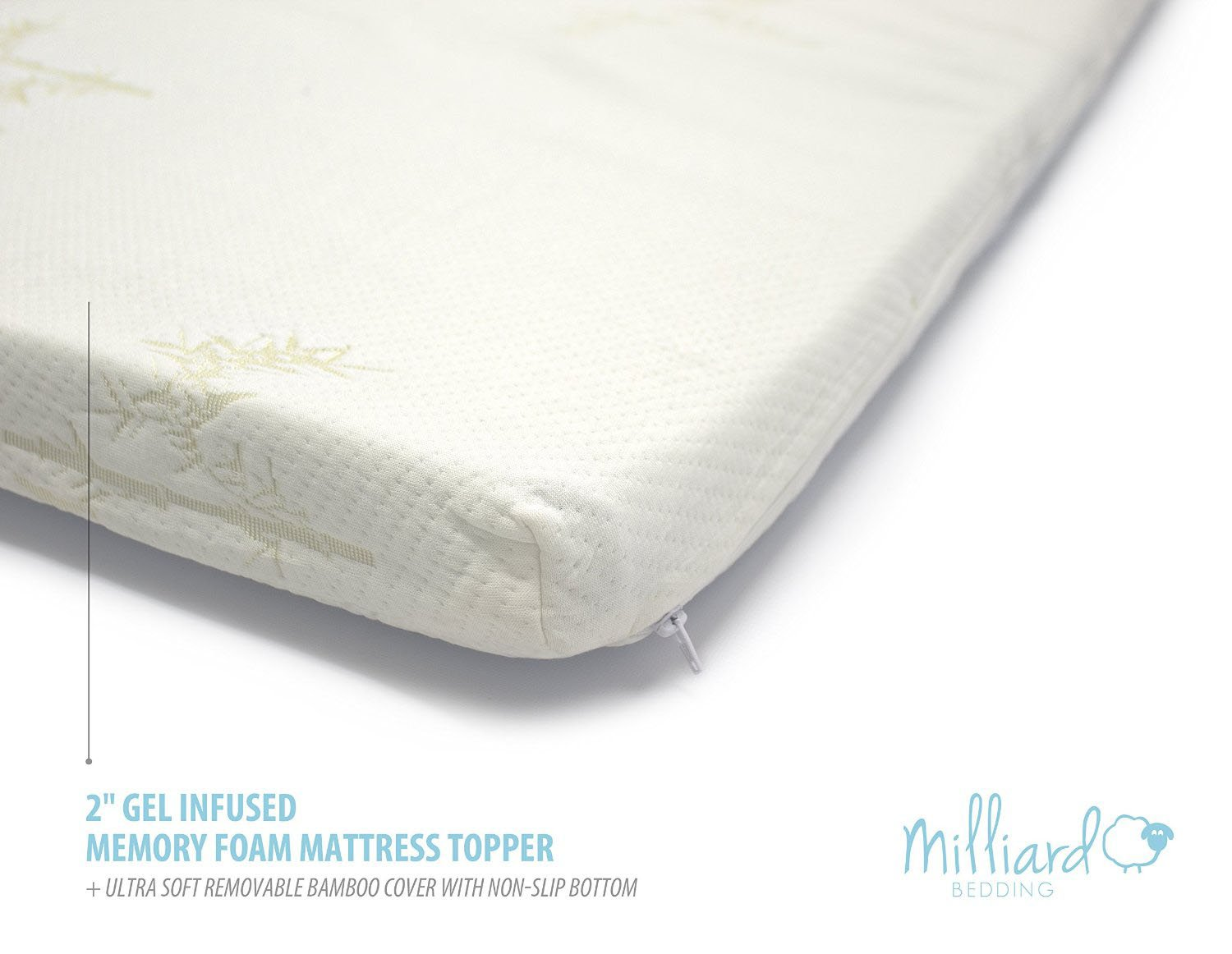 """Milliard Gel Memory Foam Mattress Topper – 2 Inches Thick with Premium 2.5 Pound Density and a Cover That's Removable and Washable – King – 78""""74""""2 by Milliard (Image #2)"""
