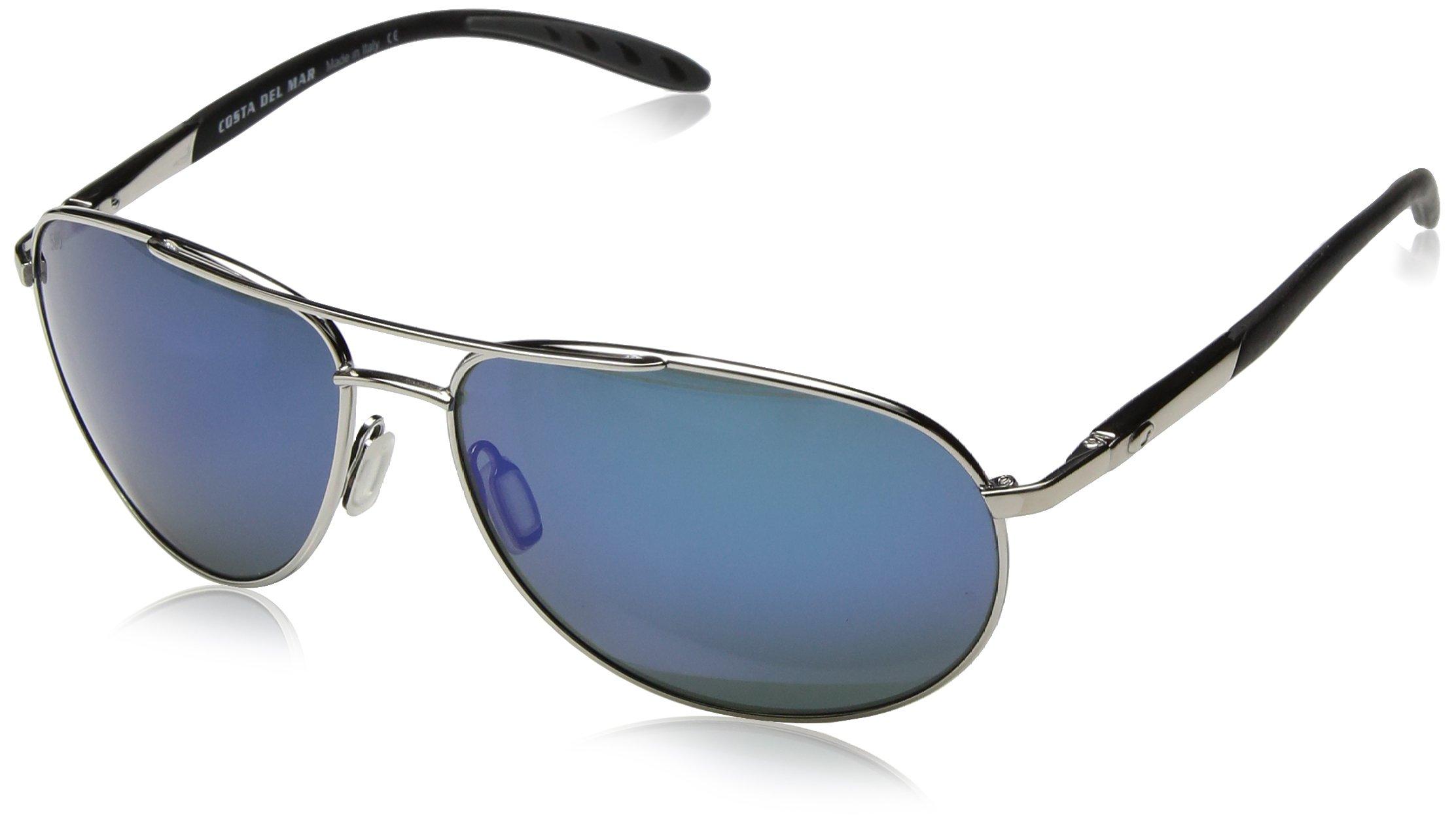 Costa del Mar Men's Wingman Polarized Iridium Aviator Sunglasses, Palladium Silver Frame Blue Mirror Glass - W580, 60.6 mm by Costa del Mar