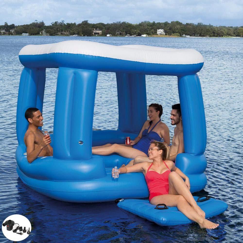 A Sommer Neue 4 Personen Große Markise Schwimmende Insel Aufblasbare Spielzeuge, Erwachsene Schwimmende Bett Schwimmende Reihe Stuhl Schwimmring Meer Urlaub Aufblasbares Haus - 218×218 Cm A