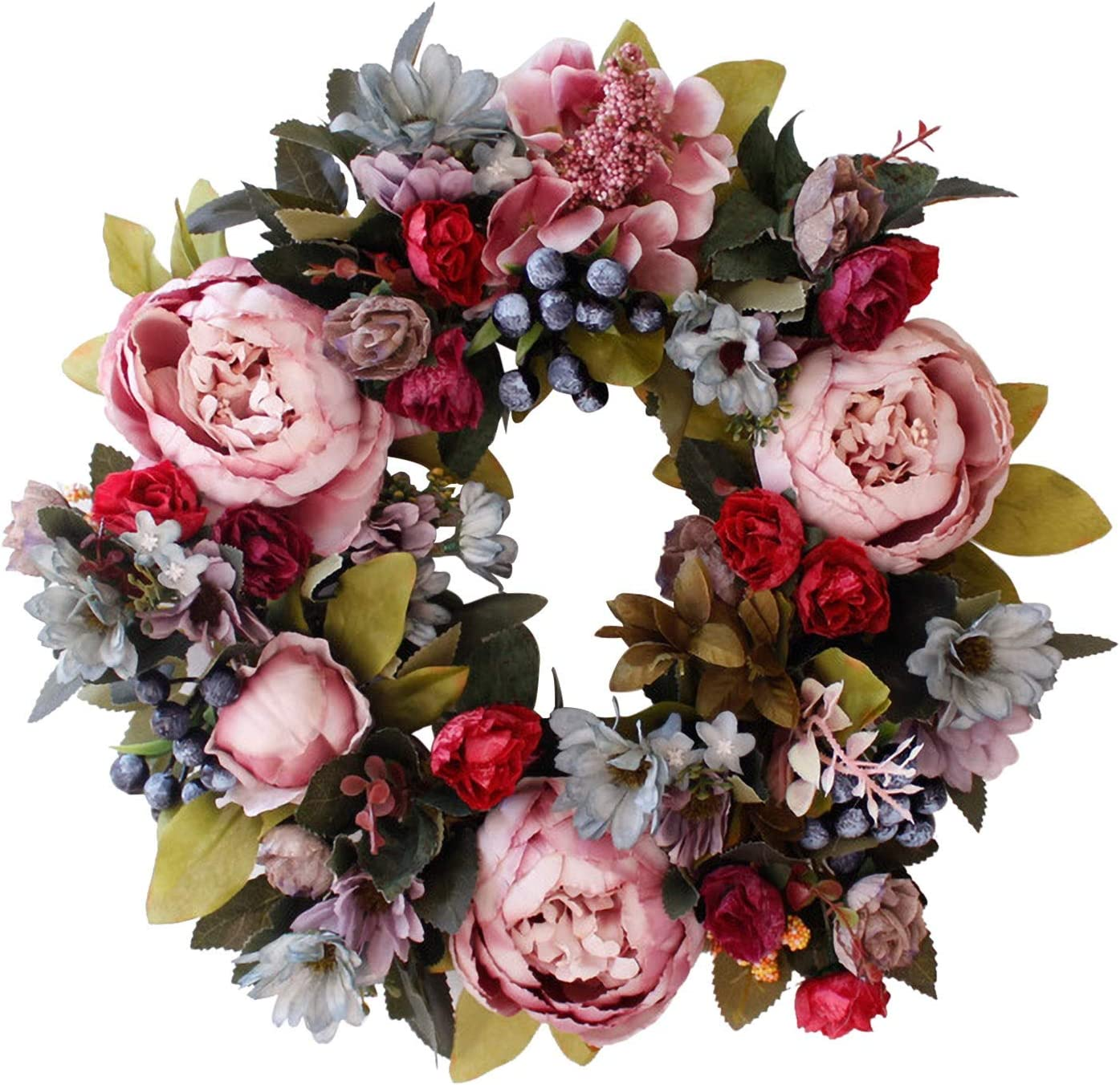 Spring Wreath, Artificial Peony Flowers Front Door Decor, Holiday Wreaths for Front Door, Artificial Garland Hanging Pendants for Wall Decoration Wedding Farmhouse, (A, 1PC)