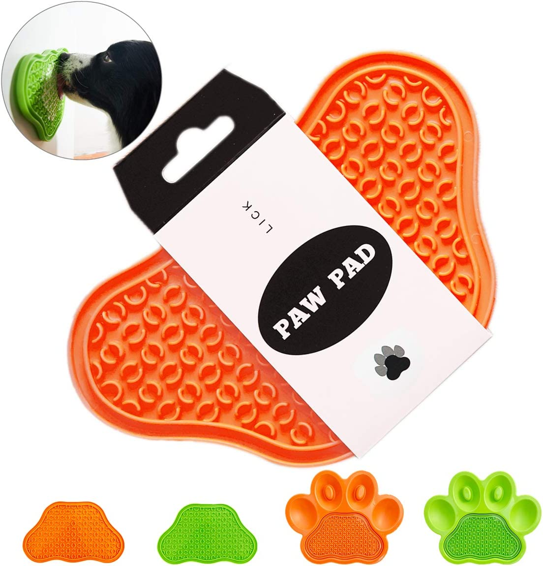 Upgrade Paw-Shaped Lick Mat for Dog/Cat, Slow Feed Treater Pad, Food Dispensing with Suctions to Wall, Anxiety Smoother Stress Relief Distraction Device for Pet Bathing Grooming and Dog Training