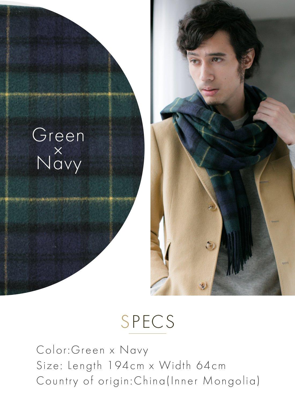 Green X Navy 100% Cashmere Plaid Shawl Stole Men's 2017 Gift Scarves Wrap Blanket B0824B2-8 by matti totti (Image #3)