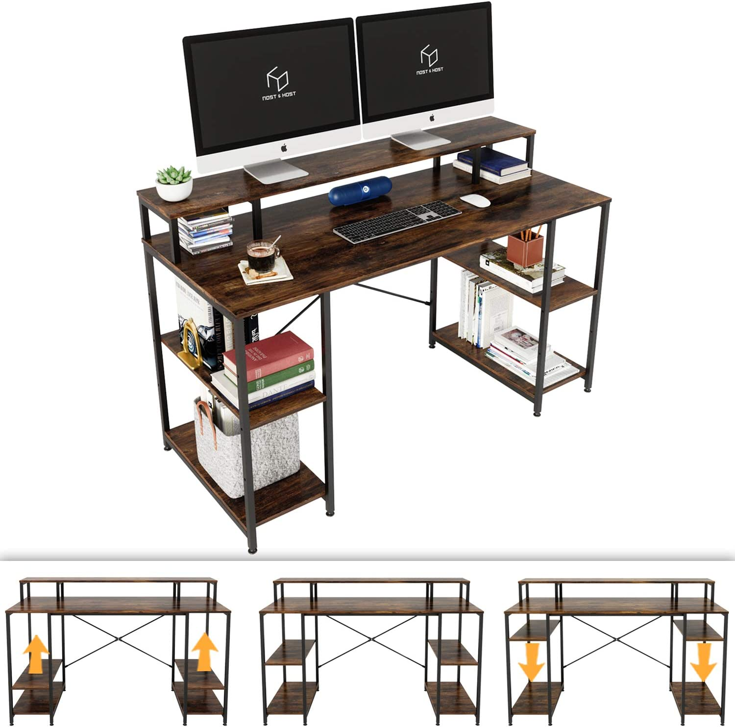 Nost & Host Computer Desk with Ergonomic Monitor Shelf & Storage, Dual Monitor Stand Hutch and Home Office Gaming & Working Sturdy Table with Adjustable Shelves, Easy Assemble, 55 inches, Rustic Brown