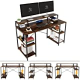 Nost & Host Computer Desk with Ergonomic Monitor Shelf & Storage, Dual Monitor Stand Hutch and Home Office Gaming & Working S