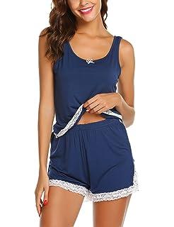 Scallop Pijamas Mujer Verano Corto 2 Piezas Camisón de Encaje Mujer Conjunto de Pijama Ropa de