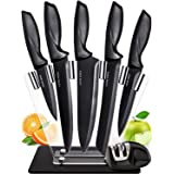 Chef Knife Set Knives Kitchen Set - Stainless Steel Kitchen Knives Set Kitchen Knife Set with Stand - Plus Professional Knife Sharpener - 7 Piece Stainless Steel Cutlery Knives Set by Home Hero