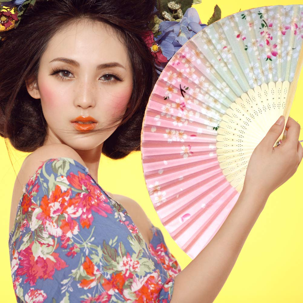 3 Pack Folding Fans,Handheld Bamboo Silk Fabric Folding Hand Fans with Tassel Wooden Chinese//Japanese Hand Fans Folding Hand Held Fans for Women Wedding Party Decoration