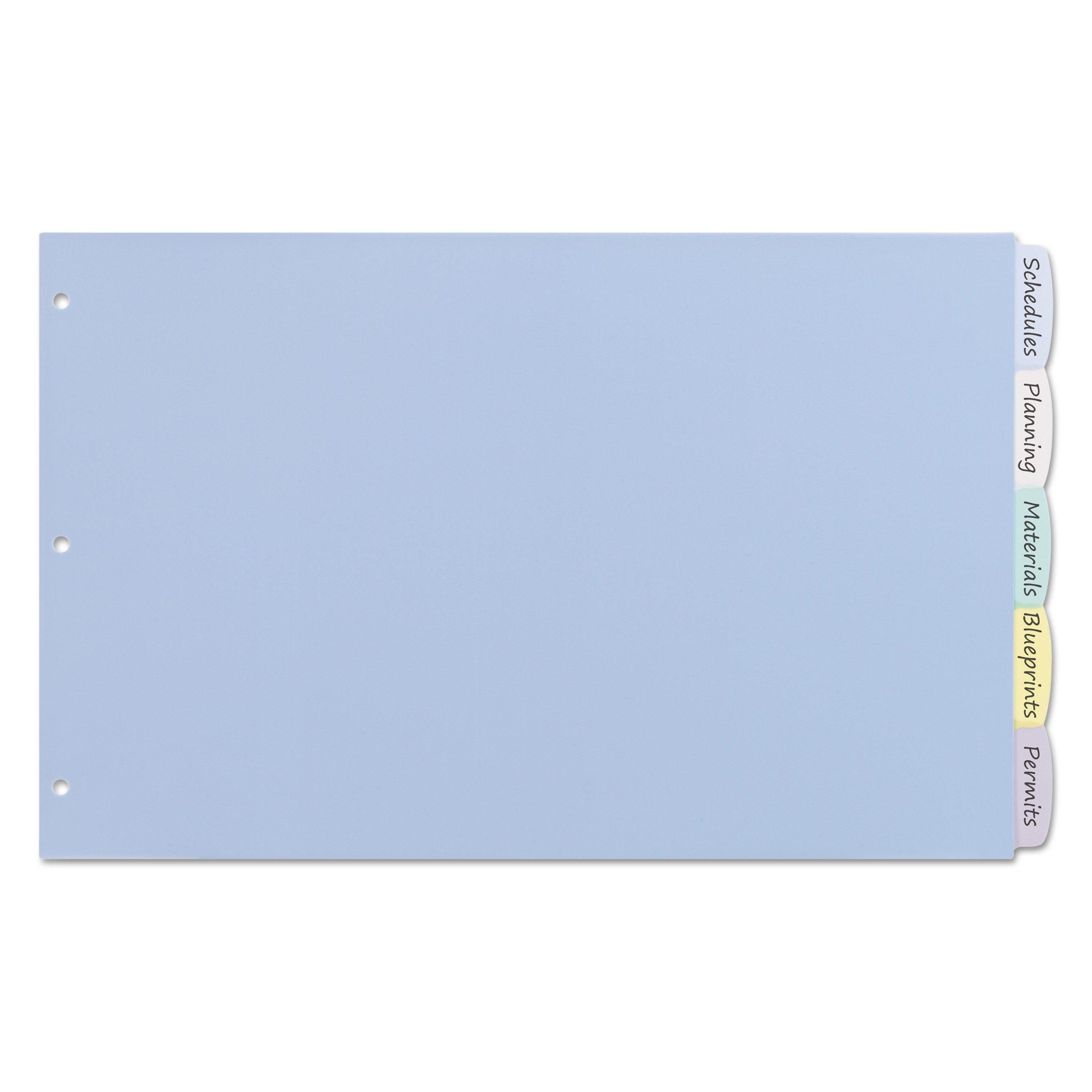 Avery 16131 Write & Erase Big Tab Plastic Dividers, 5-Tab, 11 x 17