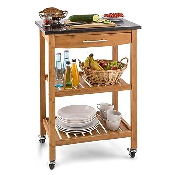 Klarstein Tennessee carrito auxiliar de cocina con 3 niveles (encimera de 58 x 40 cm