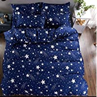 Choco Creation Polycotton 3D Printed Blue Star Double Bedsheet with 2 Pillow Cover (Standard, Multi-coloured)