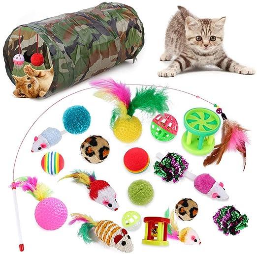 Sunshine smile Juguetes para Paquete de Variedad para Gatitos,Set di Juguetes para Gatos Interactivo Ratón,Juguetes para Gatos con Bolas Varita, Juguetes para Gatos con Plumas túnel (21 A): Amazon.es: Productos para mascotas