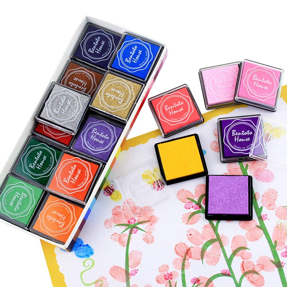 20 Pack Queta Stempelkissen Set 20 Farben Stempelkissen Fingerabdruck Set f/ür Stempel Partner Color Card Making und Kids DIY Scrapbooking