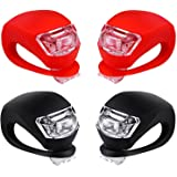 Malker Bicycle Light Front and Rear Silicone LED Bike Light Set - Bike Headlight and TaillightWaterproof & Safety RoadMountain Bike LightsBatteries Included (2pcs Red & 2pcs Black)
