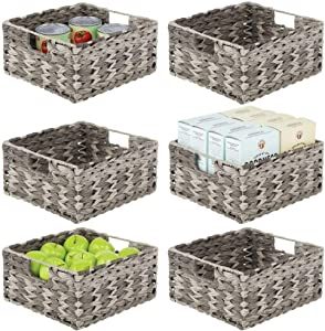 mDesign Woven Ombre Farmhouse Kitchen Pantry Food Storage Organizer Basket Bin - for Cabinets, Cupboards, Shelves, Countertops - Holds Potatoes, Onions, Fruit, 6 Pack - Gray Ombre