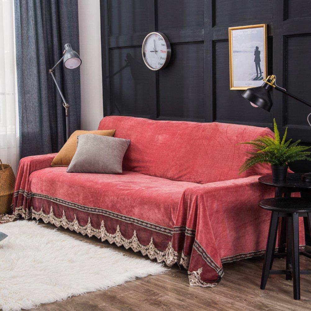AFAHXX Samt Spitzen Sofa Überwürfe,Bohème Volltonfarbe Anti-rutsch Dekoration Sofabezug für Sofa Dünn Sofahusse sofaüberwurf Sofa Abdeckung-Rot 200x350cm(79x138inch)